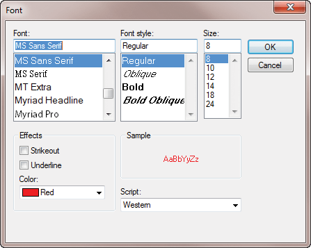 A Font selector dialog is included